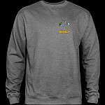Powell Peralta Skateboard Skeleton Midweight Crewneck Sweatshirt - Gunmetal Heather