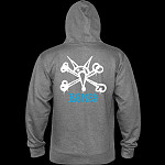Powell Peralta Rat Bones Mid Weight Hooded Sweatshirt - Gunmetal Heather