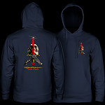 Powell Peralta Skull & Sword Hooded Sweatshirt Mid Weight Navy W/Red