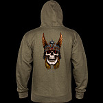 Powell Peralta Andy Anderson Skull Hooded Sweatshirt Mid Weight Army Heather