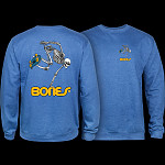 Powell Peralta Skateboard Skeleton Midweight Crewneck Sweatshirt - Royal Heather