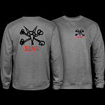 Powell Peralta Rat Bones Midweight Crewneck Sweatshirt - Gunmetal Heather