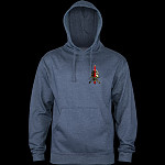 Powell Peralta Skull & Sword Hooded Sweatshirt Mid Weight Navy Heather W/ Red