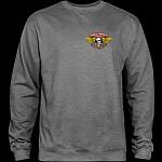 Powell Peralta Winged Ripper Midweight Crewneck Sweatshirt - Gunmetal