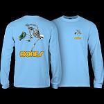 Powell Peralta Skateboarding Skeleton YOUTH L/S - Carolina Blue