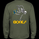 Powell Peralta Skateboard Skeleton Midweight Crewneck Sweatshirt - Army