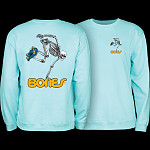 Powell Peralta Skateboard Skeleton Midweight Crewneck Sweatshirt - Mint Green