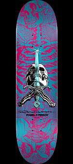 Powell Peralta Skull & Sword Skateboard Deck Pink Blue - Shape 245  K21 8.75 x 32.95