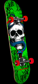 Powell Peralta Skull and Snake One Off Complete Skateboard Green - 7.625 x 31.625