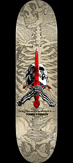 Powell Peralta Skull and Sword Skateboard Deck Gray 244 K20 - 8.5 x 32.08