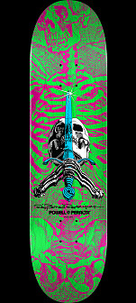 Powell Peralta Skull and Sword Skateboard Deck Pink/Green - Shape 247 - 8 x 31.45