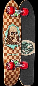 Powell Peralta Sidewalk Surfer Checker Ripper Natural Cruiser Complete Skateboard - 7.75 x 27.20 WB 14.0