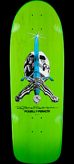 Powell Peralta Rodriguez Skull and Sword OG Skateboard Deck Green - 10 x 30