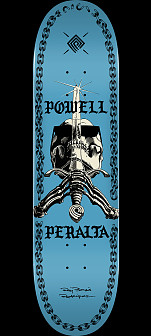 Powell Peralta Skull And Sword Chainz Skateboard Deck Blue - Shape 249 - 8.5 x 32.08
