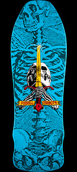 Powell Peralta Geegah Skull and Sword Skateboard Deck Blue - 9.75 x 30