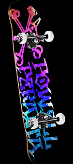 Powell Peralta Vato Rat Paint Skateboard Pink/Blue - 8 x 32.125