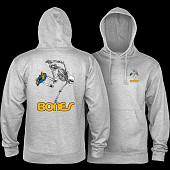 Powell Peralta Sk8Board Skeleton Hooded Sweatshirt Mid Weight Gray Heather