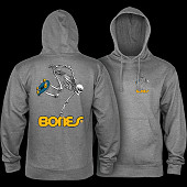 Powell Peralta Skateboarding Skeleton Midweight Hooded Sweatshirt - Gunmetal Heather