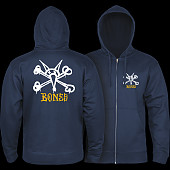 Powell Peralta Rat Bones Hooded Zip Sweatshirt - Navy