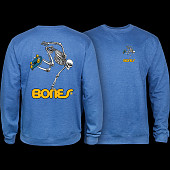 Powell Peralta Skateboard Skeleton Midweight Crewneck Sweatshirt - Royal Heather