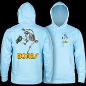 Powell Peralta Skateboarding Skeleton Midweight Hooded Sweatshirt - Blue Aqua