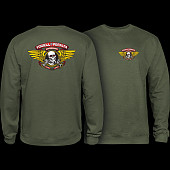 Powell Peralta Winged Ripper Midweight Crewneck Sweatshirt - Army