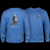 Powell Peralta Skull & Sword Crew Sweatshirt Mid Weight Royal Heather