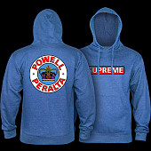 Powell Peralta Supreme Hooded Sweatshirt Mid Weight - Royal Heather