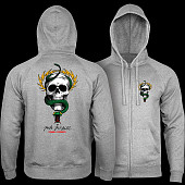 Powell Peralta McGill Skull and Snake Hooded Zip Sweatshirt - Gunmetal Heather