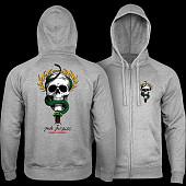 Powell Peralta McGill Skull and Snake Hooded Zip Sweatshirt - Gunmetal Heather