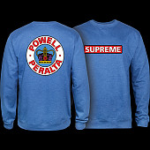 Powell Peralta Supreme Midweight Crewneck Sweatshirt - Royal Heather