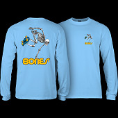 Powell Peralta Skateboarding Skeleton YOUTH L/S - Carolina Blue