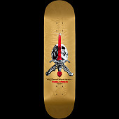 Powell Peralta Ray Rodriguez Skull and Sword Gold Skateboard Deck - 8.75 x 33.25