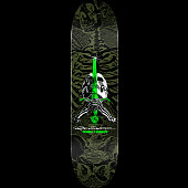 Powell Peralta Skull and Sword Skateboard Deck Green - Shape 248 - 8.25 x 31.95