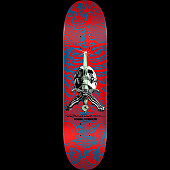 Powell Peralta Skull and Sword Skateboard Deck Red - Shape 246 - 9.05 x 32.095