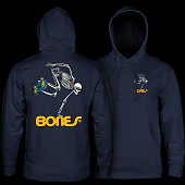 Powell Peralta Skateboard Skeleton Hood Sweatshirt Mid Weight Navy