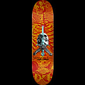 Powell Peralta Skull & Sword Skateboard Deck Red Yellow - Shape 242 - 8 x 31.45