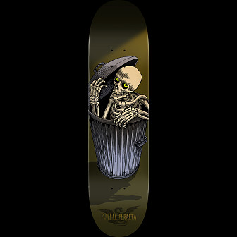 Powell Peralta Garbage Can Skelly Skateboard Blem Deck Olive - 8.5 x 32.08