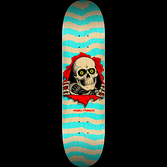 Powell Peralta Ripper Skateboard Deck Nat/Turq - Shape 242 - 8 x 31.45