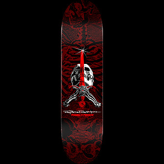 Powell Peralta Skull and Sword Skateboard Deck Red - Shape 249 - 8.5 x 32.08