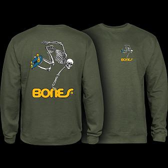 Powell Peralta Skateboard Skeleton Crew Sweatshirt Mid Weight Army