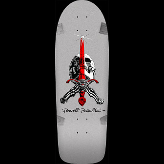 Powell Peralta Ray Rodriguez OG Skull and Sword Skateboard Deck Silver - 10 x 30 - Limit one per Customer