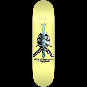Powell Peralta Skull and Sword Skateboard Deck Pastel Yellow 243 K20 - 8.25 x 31.95
