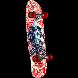 Powell Peralta Mini Skull & Sword White Complete Skateboard - 8 x 30