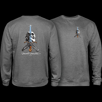 Powell Peralta Skull & Sword Midweight Crewneck Sweatshirt - Gunmetal Heather