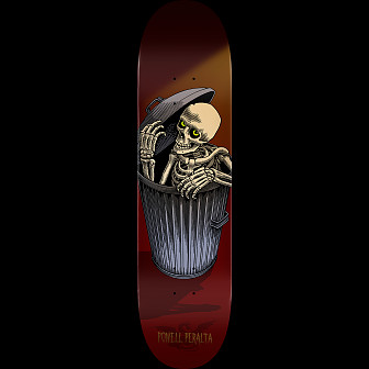 Powell Peralta Garbage Can Skelly Skateboard Deck Burgundy - Shape 243 - 8.25 x 31.95
