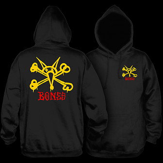 Powell Peralta Vato Rat Hooded Sweatshirt Mid Weight Black w/ Yellow Logo