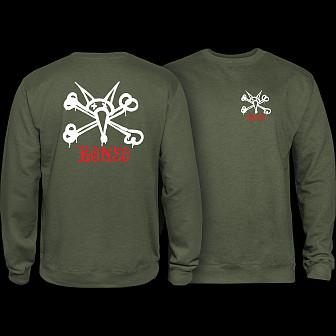 Powell Peralta Rat Bones Crew Sweatshirt Mid Weight Army
