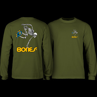 Powell Peralta Skateboarding Skeleton YOUTH L/S - Military Green
