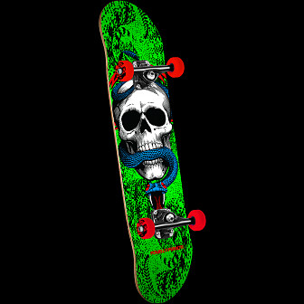 Powell Peralta Skull and Snake One Off '15' Skateboard Complete Assembly Green - 7.75 x 31.75
